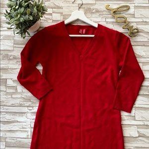 Cashmere V neck Sweater Dress